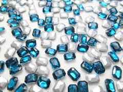 e40★6×8mm★長方形型ガラスストーン★ブルージルコン色★10粒