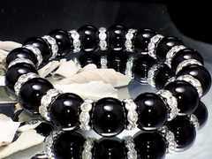 パワーストーン☆天然石!!ブラックオニキス12ミリ数珠ブレスレット§花形銀ロンデル