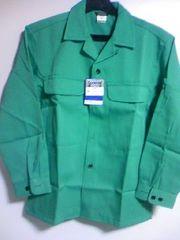 寅壱【2530グリーン】オープンシャツM、超超ロング90cm