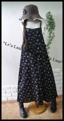 新品*夏ブラック小花ゆるオールインワン*大きいサイズ*3L