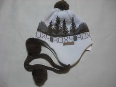 wb09 ROXY ロキシー 耳当て ボンボン付き ニット帽 柄物
