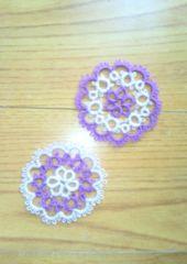 ハンドメイド*タティングレースのミニモチーフ2枚セット【p】紫