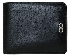 正規フェラガモ二つ折り財布メンズブラックレザー本革黒ガンチーニFERRAGAMO