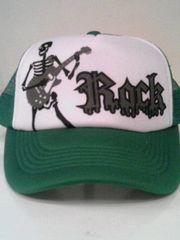 新品◆ロック◆メッシュキャップ◆スカルギター◆緑/白◆