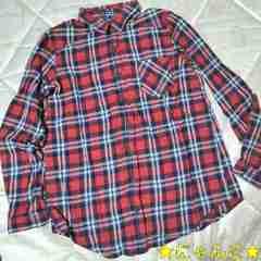 イング新品チェック柄ネルシャツ長袖赤ネイビーオフホワイト綿カジュアルカーディガン
