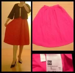 GU☆綺麗ピンク 綿ハリ感 サーキュラーフレア ミモレスカート M