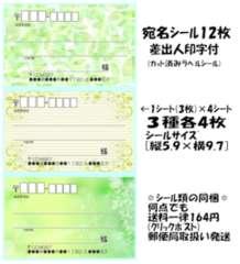★C-22★グリーン系背景*宛名シール…3種12枚♪