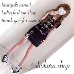 新品*セット ロゴTシャツ&スピンドル スカート