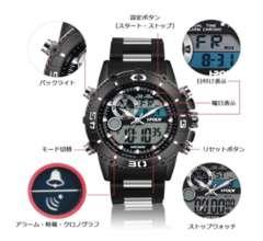 メンズ腕時計 多機能スポーツウォッチ白黒
