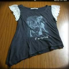 ガールプリント*アシメ半袖Tシャツ*レース袖
