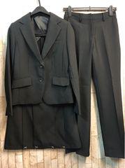 新品☆9号スーツ3点セット黒無地パンツ・スカート仕事に♪j405