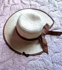 リボン ベージュ ハット ペーパー 帽子■ベージュブラウン