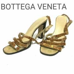 正規 ボッテガ ヴェネタ レザー サンダル ストラップ  37