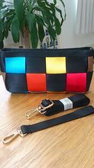 新品タグつき*個性的なカラフルヒモ編みポシェット/ショルダーバッグ ブラック
