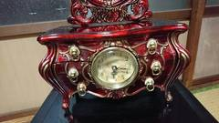民芸品小物鏡台金装飾オルゴール付き時計…クオーツ…