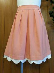 【美品/即決】ひざ丈フレアスカート♪裾カットワーク☆ピンク★ウエスト64(Mサイズ)