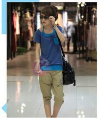 728-908018大きいサイズ☆重ね着風Tシャツ☆4L/ブルー