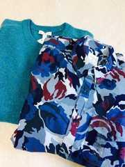 新品!格安☆GAP☆丸首セーター&カモフラシャツセット★Lサイズ