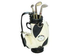 ゴルフバッグ型ペン立て&クラブ型ペン3本セット時計付きBK