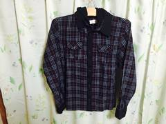 【フード脱着式チェックシャツ】L