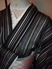 黒◆白縞夏*楊柳紗単衣146美品レタパR