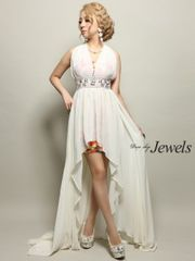 Jewels シフォン ホルター ショート in ロング ドレス M