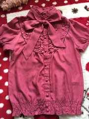 濃いめピンク☆ボウタイシャツ☆リボンブラウス☆半袖カットソー