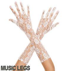 A625)MusicLegsフローラルレースアームグローブ白ホワイトウェディングパーティーダンス衣装
