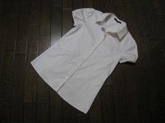 ○theory○半袖パフスリーブシャツ 2 S ピンクストライプ