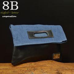 ◆8Bオリジナル 牛革×デニム クラッチバッグ メンズ 黒◆b48
