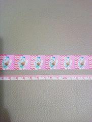 【ピンク】22mm巾 お絵描きジェラトーニ柄リボン1M