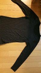 黒地に白色ドットの長袖シャツ【Mサイズ】