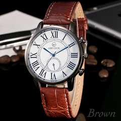 腕時計 ギリシャ文字 アナログ クォーツ レザー ウォッチ 茶色