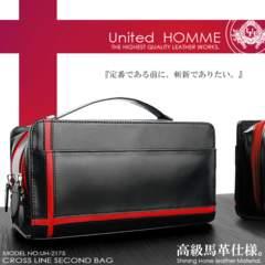 United HOMME馬革ホースハイド セカンドバッグ2175RD