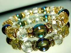 64面ダイヤカット水晶§ブルーオーラ§10ミリ§金ロンデル