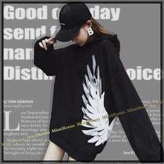《新》〜3L【大きいサイズ】サイド羽翼プリント&裏起毛☆セミロング丈パーカー