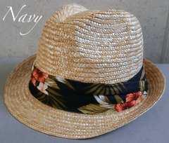 帽子 ストローハット 中折れハット ボタニカル帯 ハイビスカス柄