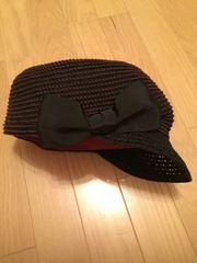 grace hats 深紫がかった黒 麦わら帽子 変形キャスケット リボン