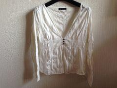 白色ホワイト長袖トップスカットソー