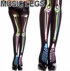 A267)MusicLegsカラフルスケルトン骨タイツ黒ストッキングスカルコスプレ衣装ハロウィンガイコツ