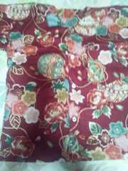 ☆新品赤エンジ麻葉×牡丹金彩花束大鞠和柄ダボシャツ130
