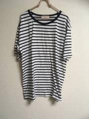 大きめサイズ4L・ボーダーTシャツ・ネイビー×ホワイト