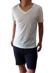 「sakasa」VネックコットンポケットカットソーLホワイト白white新品※2点送料無料