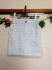 レイカズン■ライトブルー チェック 台形 ミニ スカート