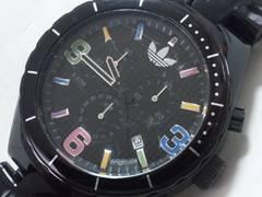 7625/adidasアディダス★フルブラックマルチカラースポーツクロノグラフモデルお洒落