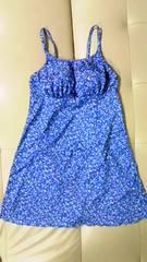 フラワー小花柄〓キャミソールトップス&ショーツ一体型フレアワンピース水着〓ブルー青 M