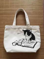 メガネ&子猫イラスト柄ミニサイズトートバッグ