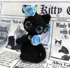 送料無料◆あみぐるみ☆薔薇*黒猫ちゃんストラップ