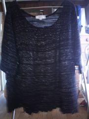 新品同様 ラメ入り5分袖トップス(L)黒×シルバーラメ