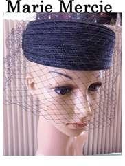 Marie Mercie マリーメルシエ 礼装用 チュール 帽子 ドレスハット 黒 新品★dot